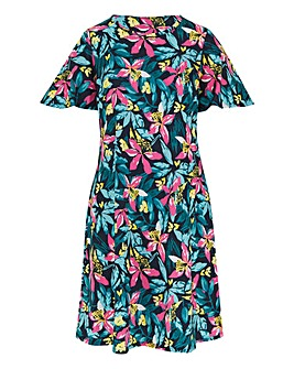 Tropical Print Short Sleeve Swing Dress