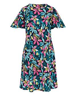 Tropical Print Short Sleeve Swing Dress