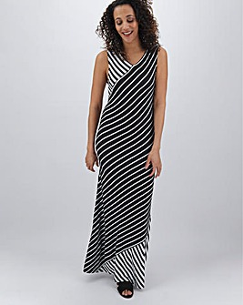 Mixed Stripe Jersey Maxi Dress