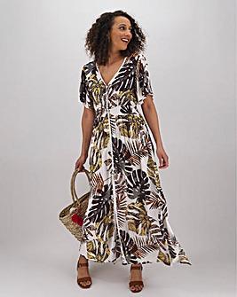 Palm Print Lace Trim Crinkle Maxi Dress