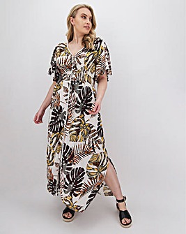 Palm Print Lace Trim Crinkle Maxi Dress