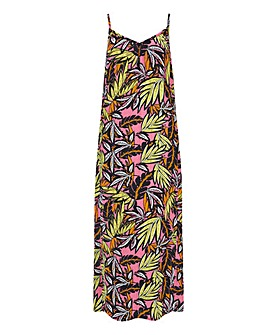 Tropical Print Crinkle Maxi Dress
