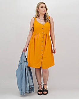 Saffron Frill Shoulder Linen Dress
