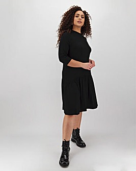 Black Dropped Waist Dress