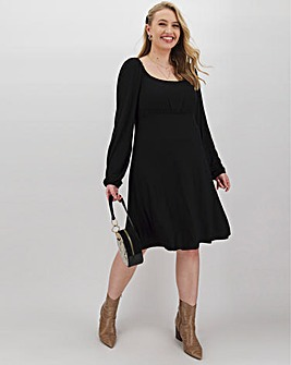 Black Square Neck Swing Dress