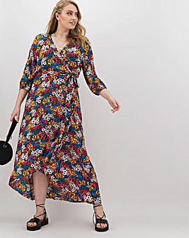 Black Floral Crinkle Wrap Dress