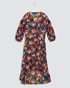 Black Floral Crinkle Wrap Dress