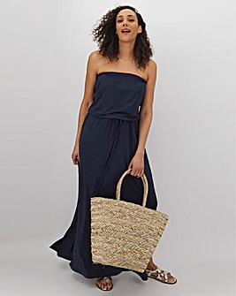 Navy Bandeau Jersey Maxi Dress