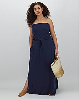 Navy Bandeau Jersey Maxi Dress