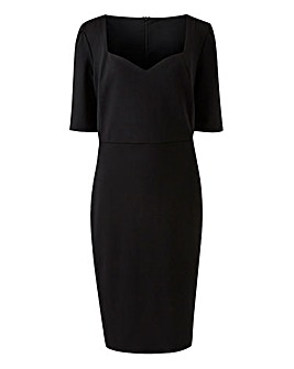 Black Sweetheart Neck Bodycon Dress
