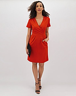 Tomato Red V-Neck Ponte Shift Dress