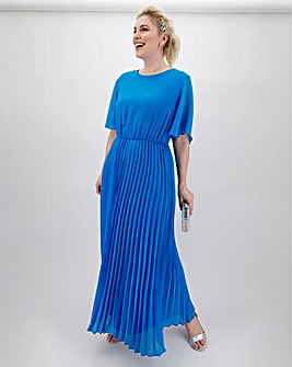 Azure Blue Blouson Top Pleat Skirt Maxi Dress