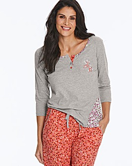 Joe Browns 3/4 Sleeve Button PJ Top