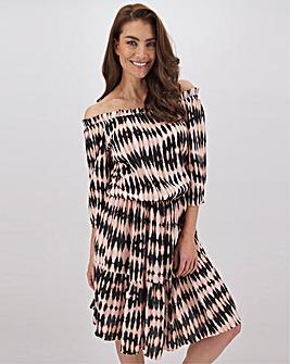 Tie Dye Crinkle Bardot Blouson Dress