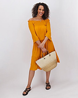 Ochre Crinkle Bardot Blouson Dress