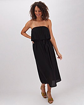 Black Bandeau Crinkle Midi Dress