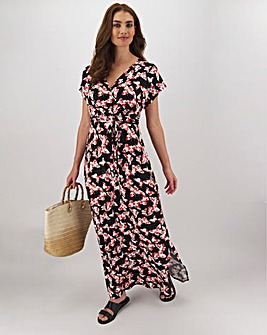 Butterfly Print Wrap Jersey Maxi Dress