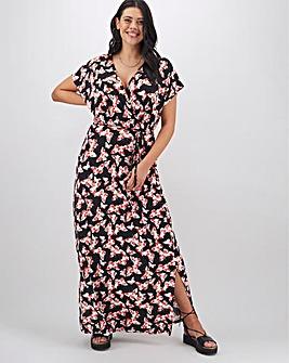 Butterfly Print Wrap Jersey Maxi Dress