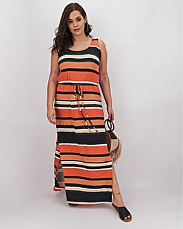 Multi Stripe Vest Maxi Dress