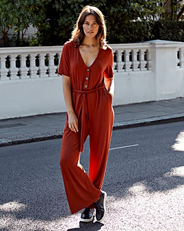 Terracotta Button Detail Jumpsuit