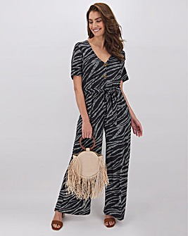 Zebra Print Button Detail Jumpsuit