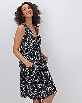 Mono Print Sleeveless Swing Dress