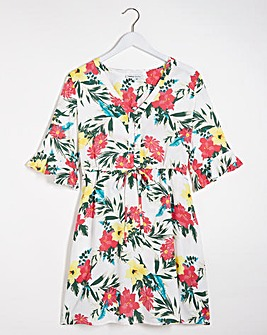 Floral Print Tie Waist Tea Dress