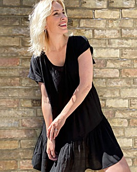 Black Crinkle Tiered Smock Dress