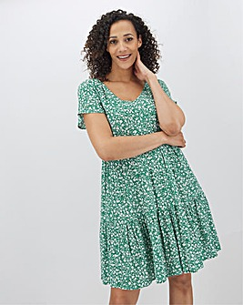 Floral Crinkle Tiered Smock Dress