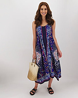 Scarf Print Hanky Hem Shirred Back Dress