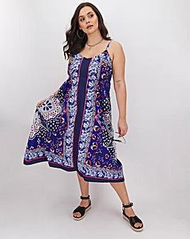 Scarf Print Hanky Hem Shirred Back Dress