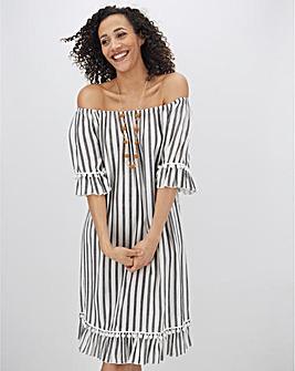Stripe Crinkle Bardot Pom Pom Trim Dress