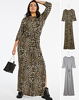 2 Pack Animal Print/Grey Tie Waist Maxi Dresses