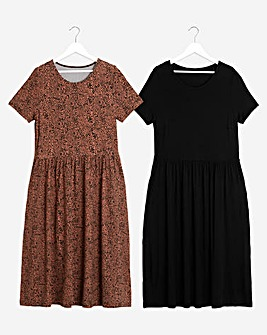 2 Pack Black/Leopard Smock Midi Dresses