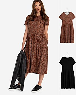2 Pack Black/Leopard Short Sleeve Smock Midi Dresses