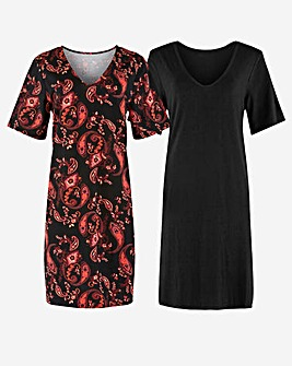 2 Pack Black/Paisley T-Shirt Dresses