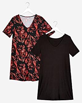 2 Pack Black/Paisley V-Neck T-Shirt Dresses