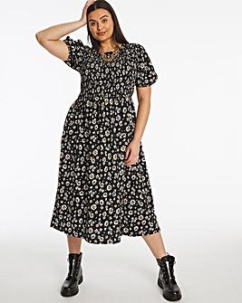 Daisy Print Shirred Waffle Midi Dress