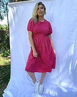 Spot Print Shirred Waffle Midi Dress