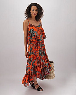 Paisley Print Cold Shoulder Midi Dress