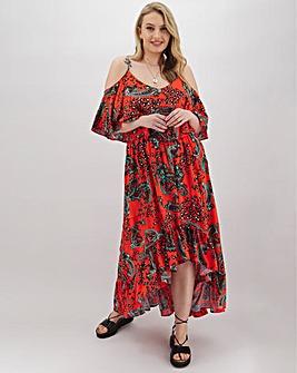 Paisley Print Cold Shoulder Midi Dress