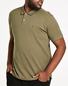 Khaki Short Sleeve Embroid Polo Long