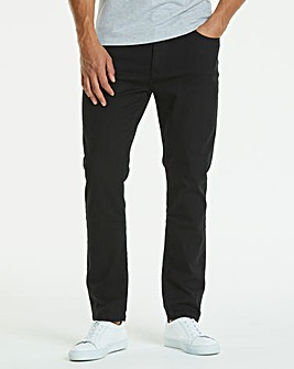 Straight Gaberdine Black Jeans 27 in