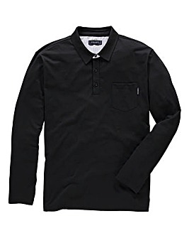 Peter Werth Contrast Print Trim Long Sleeve Polo