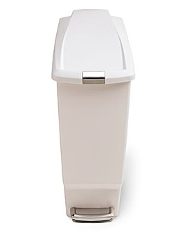 simplehuman 40L Slimline Pedal Bin White