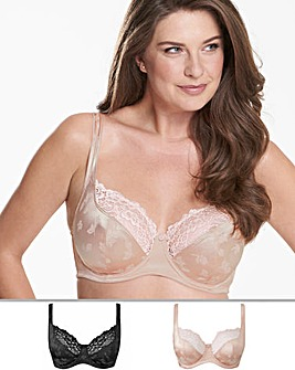 2 Pack Laura Full Cup Black/Blush Bras