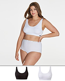 2 Pack Slimma Black/White Comfort Tops