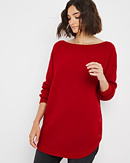 Side Button Tunic With Curved Hem