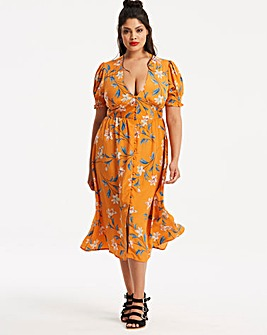 Neon Rose Floral Button Midi Dress