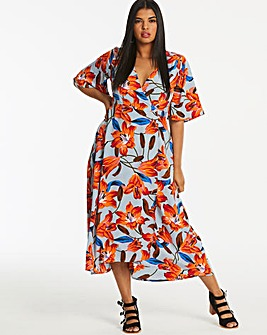 Neon Rose Floral Wrap Midi Dress